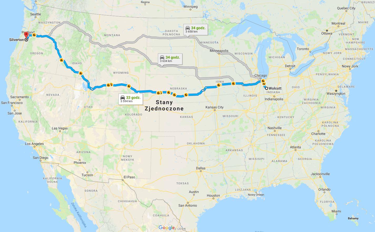 Mapa podróży